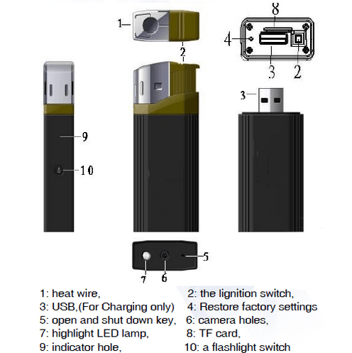 WIFI Lighter SPY HIdden Camera, HD1080P, 1.3M Camera, 50min - 6