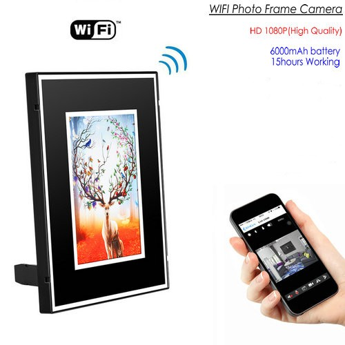 WIFI Photo Frame SPY Hidden Camera, HD 1080P, 6000mAh battery 15hours - 1