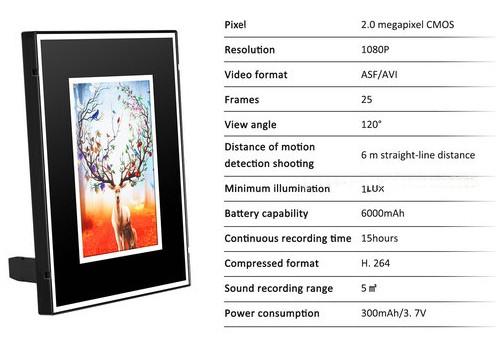 WIFI Photo Frame SPY Hidden Camera, HD 1080P, 6000mAh battery 15hours - 6