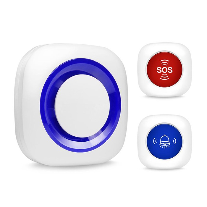 2 in 1 Wireless nurse call alarm system, 1 receiver 2 SOS buttons - 1