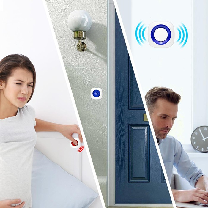 2 in 1 Wireless nurse call alarm system, 1 receiver 2 SOS buttons - 6