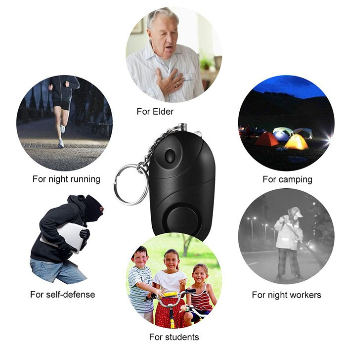 Personal Alarm Mini Loud 120-130dB Self Defense Keychain Security Alarm with LED - 6