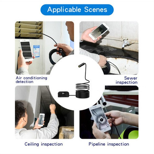 Auto Focus WiFi Endoscope Camera, 5.0MP, HD1994P, 3.5M14.2mm, 4pc LED, 2600mAh - 2