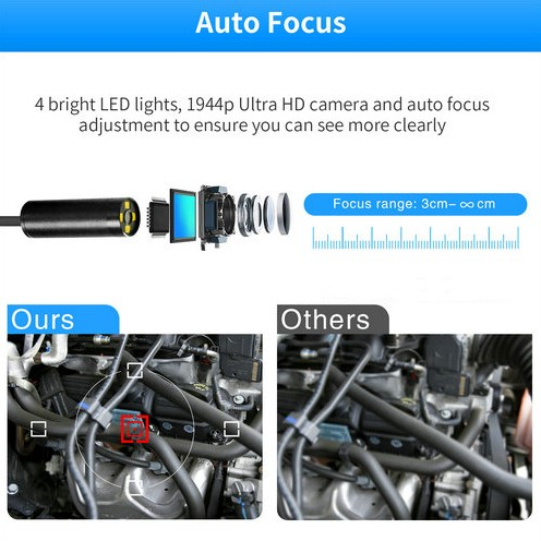 Auto Focus WiFi Endoscope Camera, 5.0MP, HD1994P, 3.5M14.2mm, 4pc LED, 2600mAh - 3