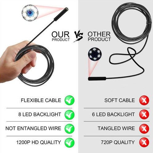 WIFI Endoscope Camera, HD 1600x1200 mp4, 3.5M Semi-rigid Cable - 4
