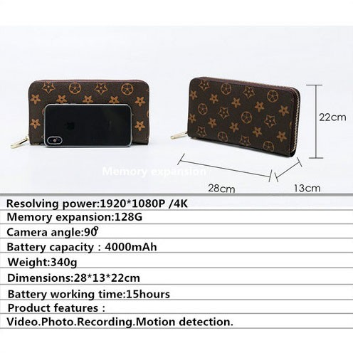 4K WIFI SPY Hidden Bag Camera, 4000mAh battery, SD Card Max 128G - 4