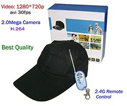 Baseball Cap SPY Camera, with Wireless Remote Control - 1 250px