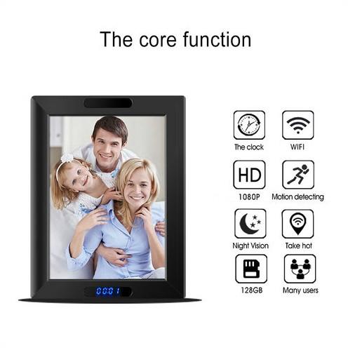 WIFI Clock Photo Frame Camera, HD1080P,Clock Function, TF Max 128G, 3500mAh battery - 2