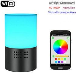 WIFI Lamp Camera, HD 1080P, 7 Color LED Light, Super Nightvision, amazon Alexa - 1 250px