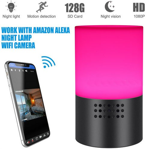 WIFI Lamp Camera, HD 1080P, 7 Color LED Light, Super Nightvision, amazon Alexa - 3