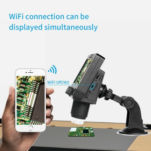WIFI Microscope Camera, 4.3inch LCD, 2.0MP Camera, 8pcs White LED,50-1000X - 2