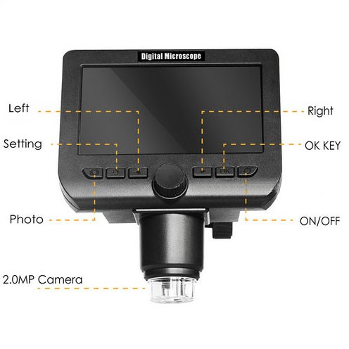 WIFI Microscope Camera, 4.3inch LCD, 2.0MP Camera, 8pcs White LED,50-1000X - 5