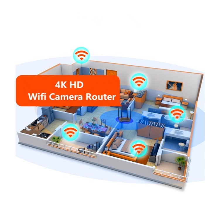 SPY296 - 4K WIFI Router Camera, HD 4K2K, Hisilicon 3518E, 2.0MP Camea,TF Max 128G 10- 700x