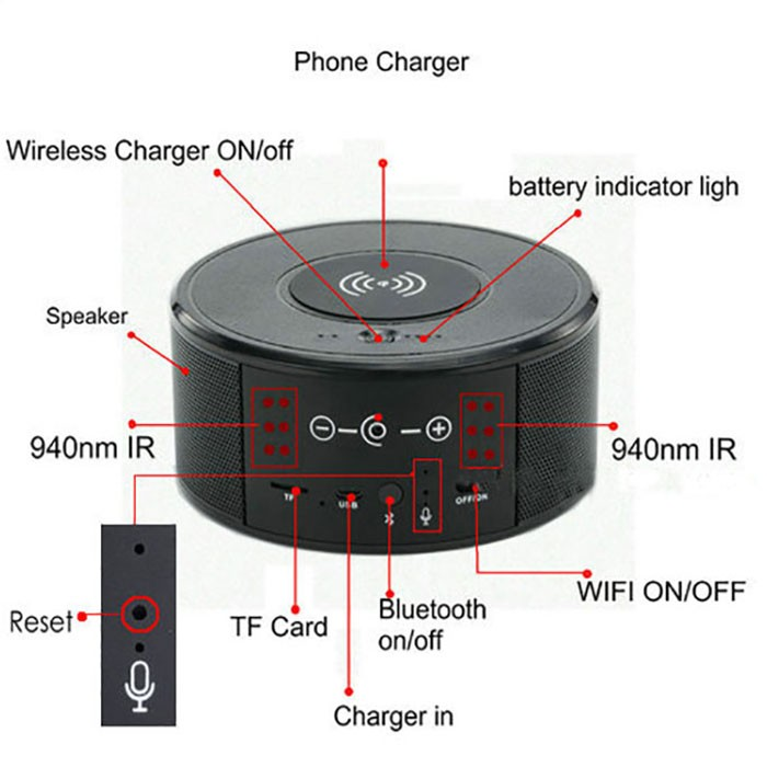 SPY300 - WIFI Speaker Camera, Wireless Charger + Bluetooth Speaker 01