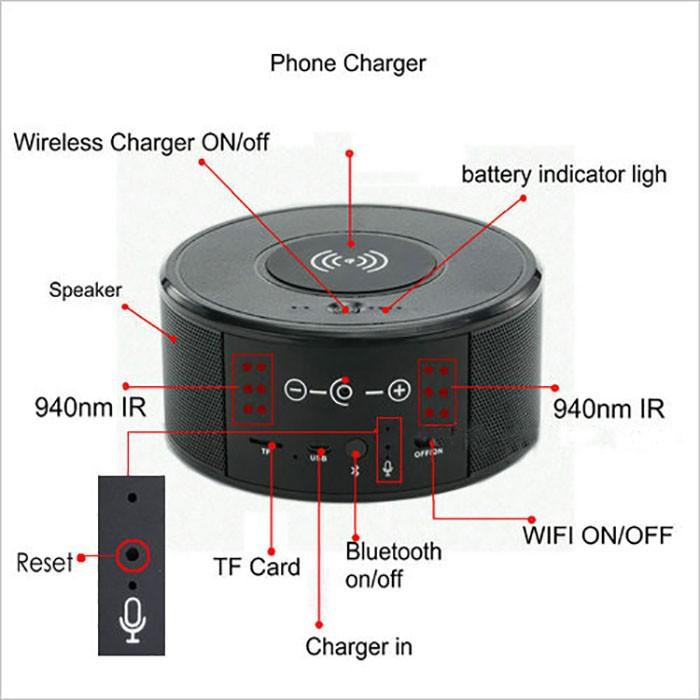 SPY300 - WIFI Speaker Camera, Wireless Charger+Bluetooth Speaker 01