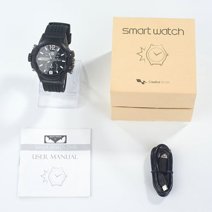 SPY301 - Low illumination 2K Watch Camera,HD1296P 30fps, H.264 MOV, Built in 16G, Waterproof 10