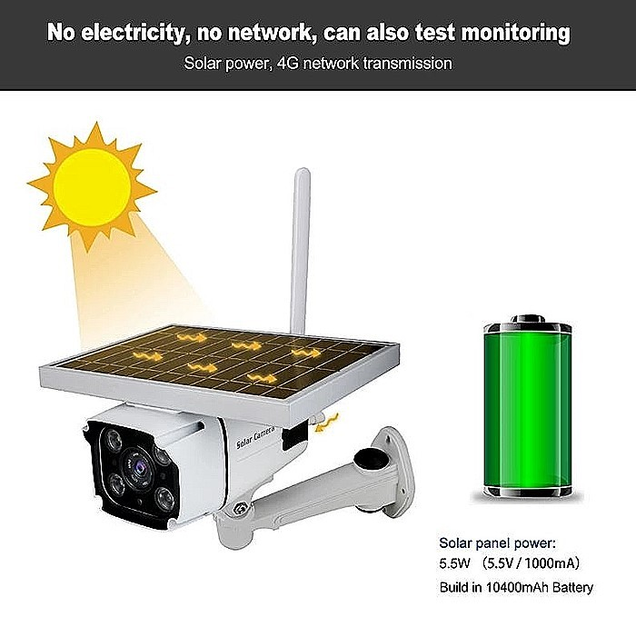 SPY318 - Outdoor Wireless 3G 4G Sécherheet ip Kamera mat SIM CardSD Kaarte Slot Solar Powered CCTV Camera