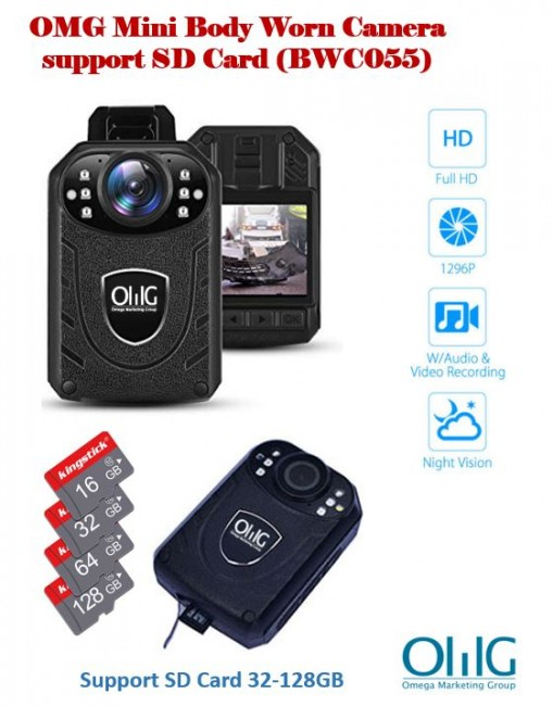 BWC055 - Mini Body Worn Camera, support SD Card