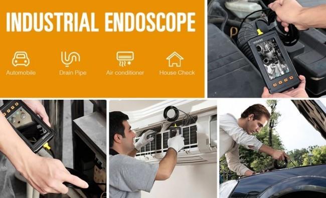OMGEND015 - OMG Industrial Borescope Endoscope 5.5mm with 4.3inch Screen, 1080P HD 2800mAh Battery Semi-Rigid Tube 3.5m5m (5)