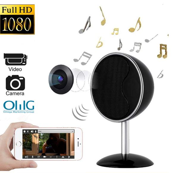 1080P WIFI Bluetooth Speaker များသည်သူလျှိုကင်မရာကိုဖုံးကွယ်ထားသည်