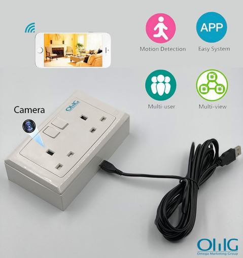 2 Gang WIFI Wall Molded Solet Outlet SPY Hidden Camera