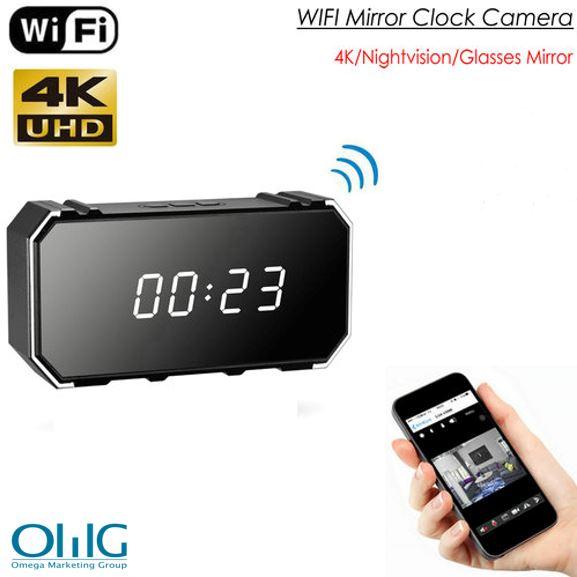 4K Mirror Clock Camera, HD4K2K1080P, 8pcs IR Untuk Nightvision, SD Card Max 128G