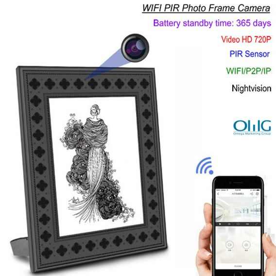 720P HD Photo Frame Wi-Fi Hidden Camera with PIR Motion Detection