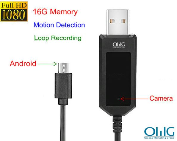 Apple,android Charging Cable Camera,1080P, Motion Detection, Loop Recording, 16G