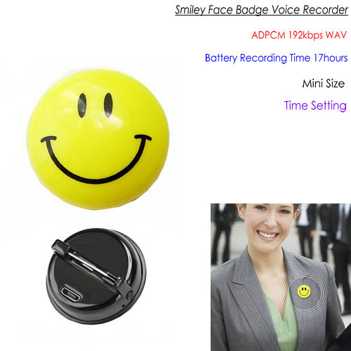 Badge Digital Voice Recorder, WAV 192kbps, 48KHz, Mini Size, Bateria Grabaketa - 1