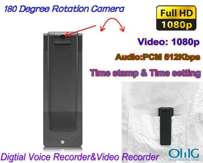 Digital Voice&Video Recorder, Video 1080p, Voice 512kbps,180 Deg Rotation