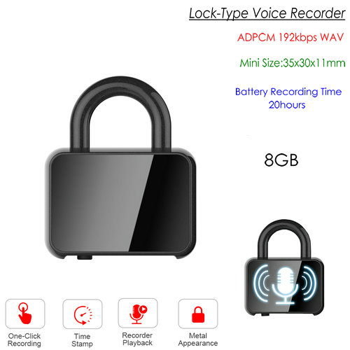 Lock-type Digital Voice Recorder, WAV 192kbps, 48KHz, Battery Recording 20hours - 1