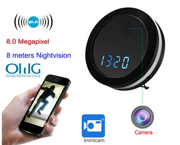 Night Mirror WIFI Clock Camera, Two Way Talk, Super Nightvision