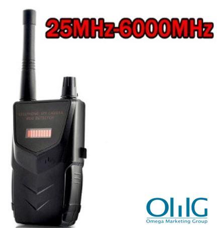 Profesionāls SPY kameru kļūdu RF detektors, 20-6000MHz, attālums līdz 30m