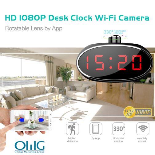 SPY061 - Wifi Alarm Clock Hidden Camera 330 degree Rotatable Lens for Home