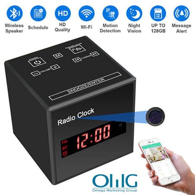SPY297 - WIFI Clock Camera, WIFI Camera+Clock+Bluetooth Speaker+FM Radio, Nightvision