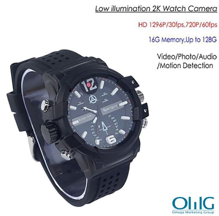 SPY301 - Low illumination 2K Watch Camera,HD1296P 30fps, H.264 MOV, Built in 16G, Waterproof