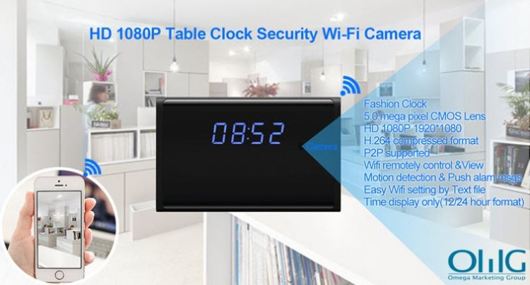 WIFI HD 1080P Table Clock Security Camera, Support SD Card 128GB
