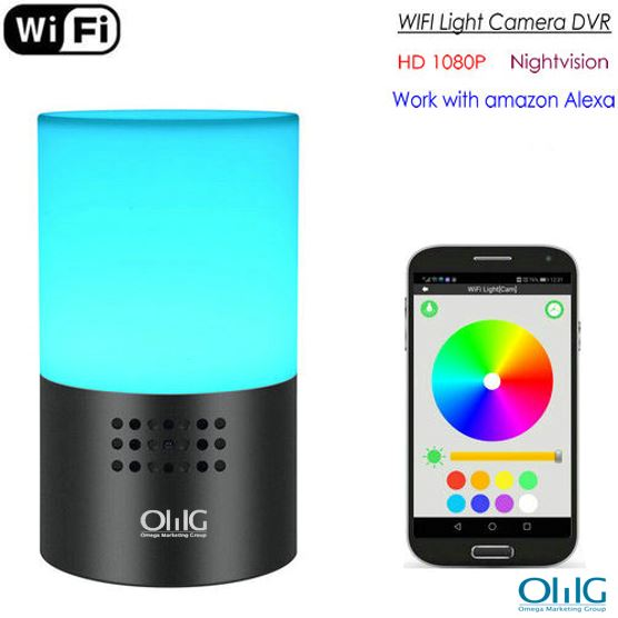 WIFI Lamp Camera, HD 1080P, 7 Color LED Light, Super Nightvision, amazon Alexa