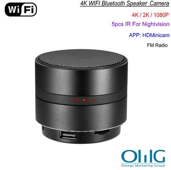 WIFI Network Bluetooth Speaker Camera, HD 4K Video, Max 128G SD Card
