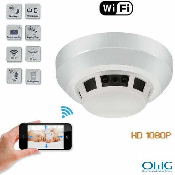 WIFI Smoke Detector SPY Hidden Camera, HD1080P, WIFI,P2P,IP, TF Max128G