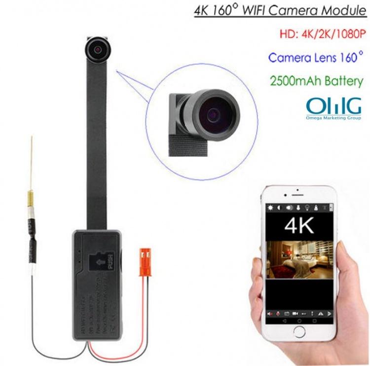 4K WIFI Camera Module, External 2500 mAh nga baterya, TF Max 128G