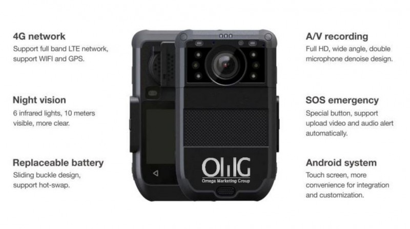 BWC073-4GFR – OMG Police Body Worn Camera – 4G Live Stream with Facial Recognition Design for Airport Security Staff