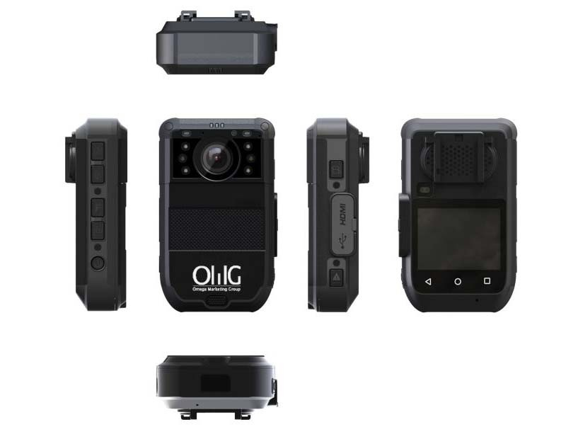 BWC073-4GFR – OMG Police Body Worn Camera – 4G Live Stream with Facial Recognition Design for Airport Security Staff - Multi View