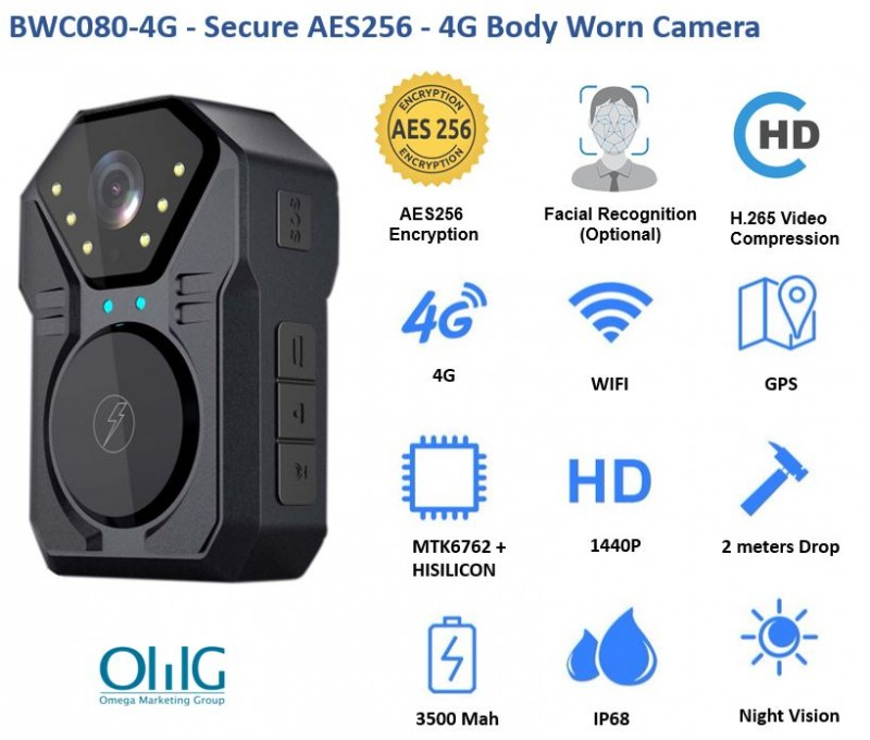 BWC080-4G - Secure AES256 - 4G Body Worn Camera - Features