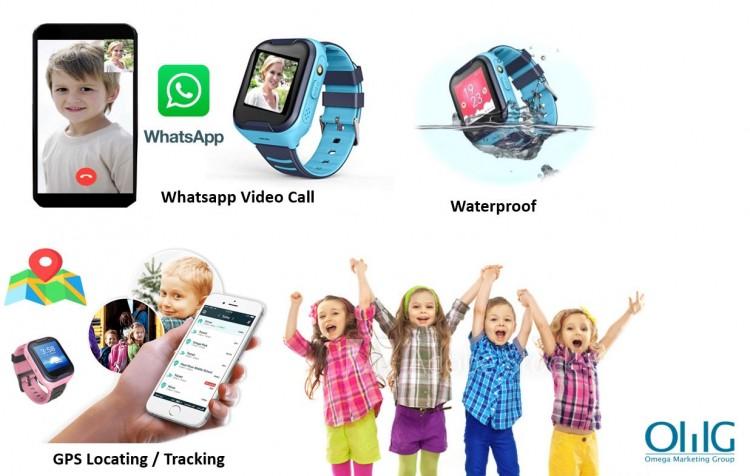 GPS033W - Waterproof GPS Whatsapp Video Call Kids Watch