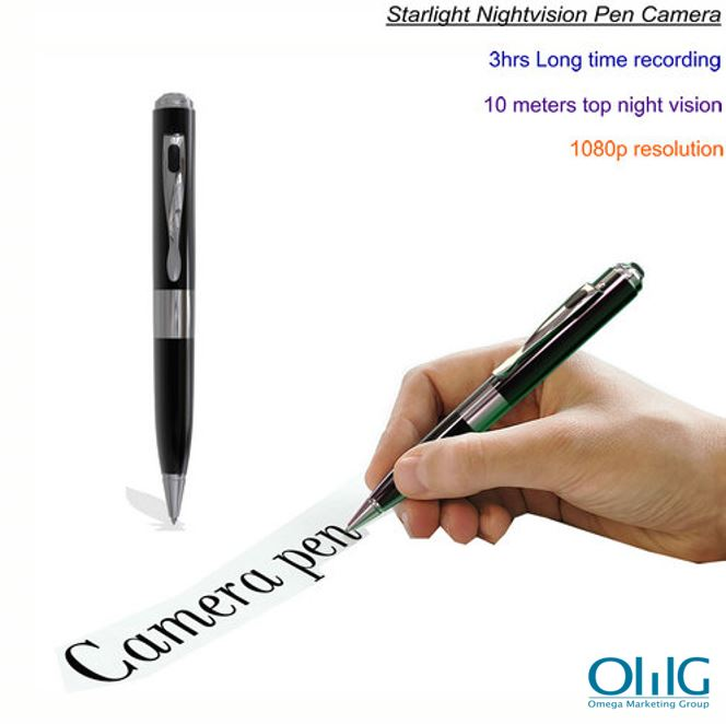 Starlight Night Vision Pen Camera, Super Nightvision, HD1080P, TF Max 128G