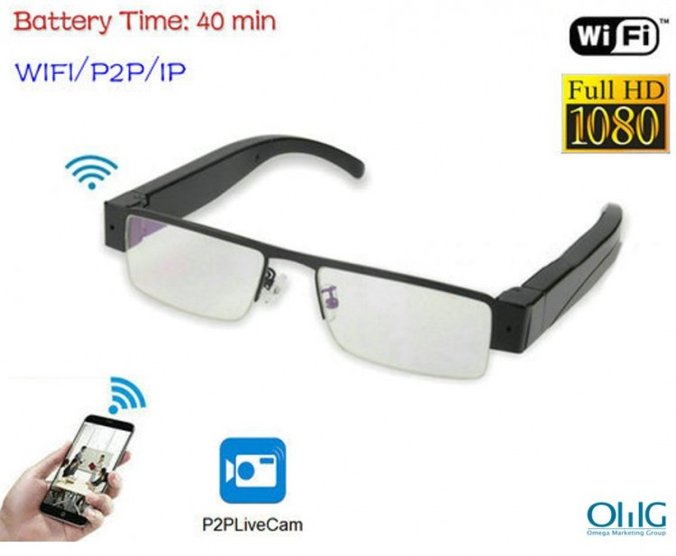 WIFI Glasses Camera, HD 1080P, WIFI, P2P, IP