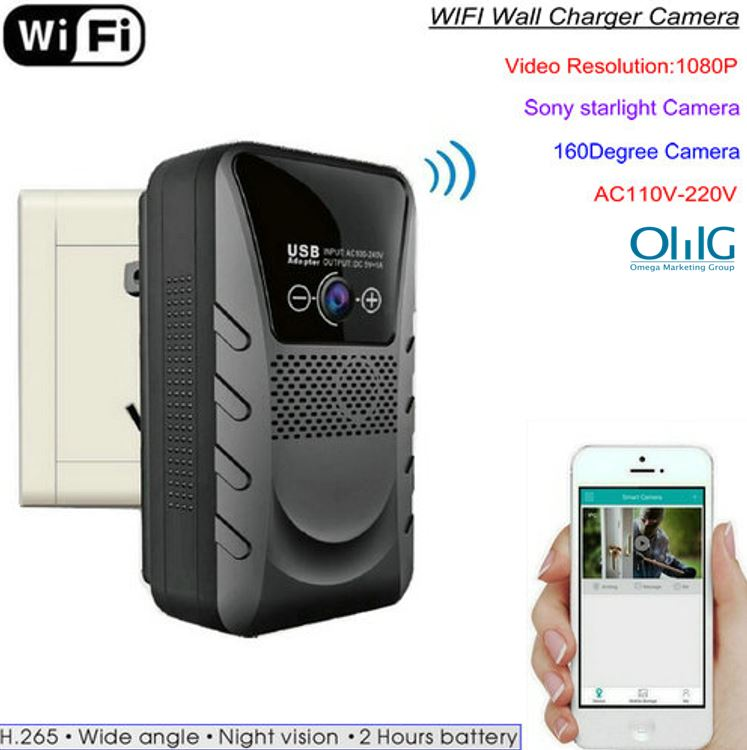 WIFI Wall Charger Camera, HD1080P, WIFIP2PIP, H.265