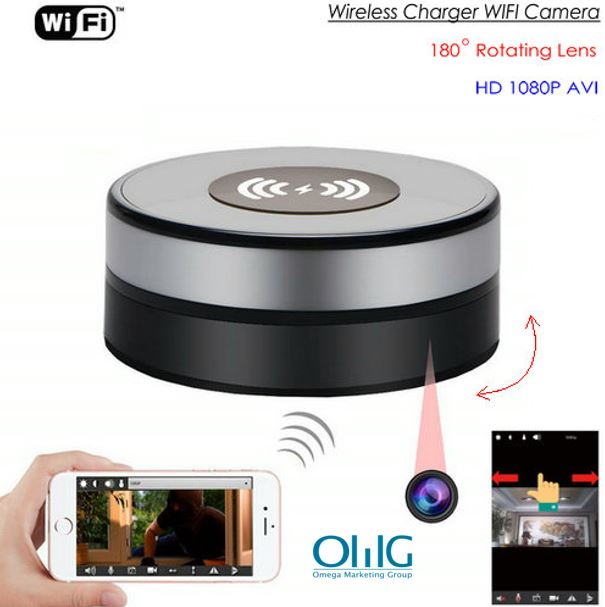 Wireless Charger WIFI Hidden SPY Camera, 180 Deg Rotation Lens