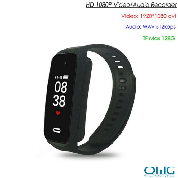 Wristband Spy Hidden Camera, TF Max 128G, Battery Rec Time 90min